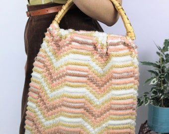 1970s Knitted Bag with Wicker Handles