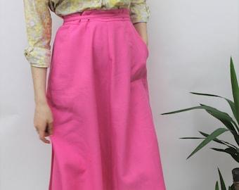 1970s Bright Pink Wrap Midi Skirt Size UK 10, US 6, EU 38