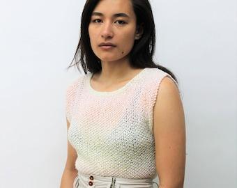 Handknitted Pastel Ombre Sleeveless Sweater Size UK 10, US 6, EU 38