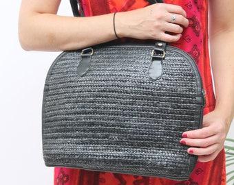 Black Raffia Shoulder Bag