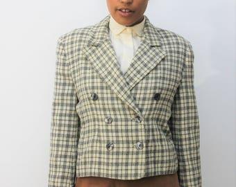 Richards Cream & Black Check Boxy Jacket Size UK 10, US 6, EU 38