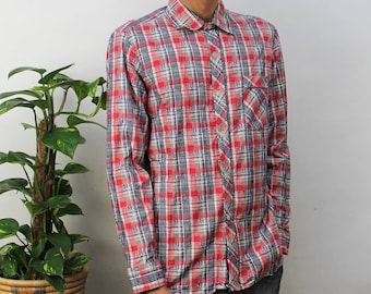 1970s Red & Blue Check Flannel Shirt Size Small