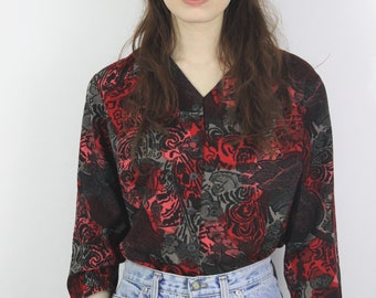 1980s Red Printed Cropped Blouse Size UK 12, US 8, EU 40