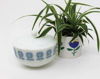 Federal Milk Glass Blue Flower Casserole Dish with Lid