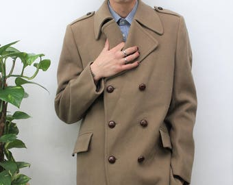 1970s Light Brown Double Breasted Coat Size Medium