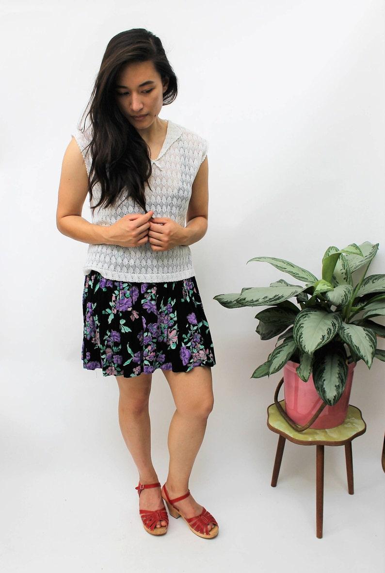 EU 38 Black and Purple Cheesecloth Style Mini Skirt Size UK 10 US 6