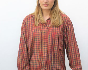 1980s Red Check Shirt Size UK 12, US 8, EU 40