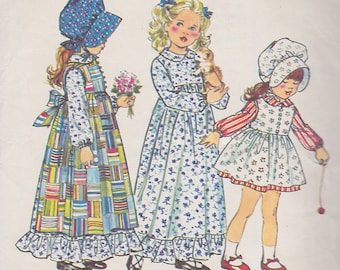 1973 Holly Hobbie Dress, Pinafore and Bonnet Vintage Pattern, Simplicity 5996 Ruffles, Lace, Peter Pan Collar, Sash, Victorian, Little House