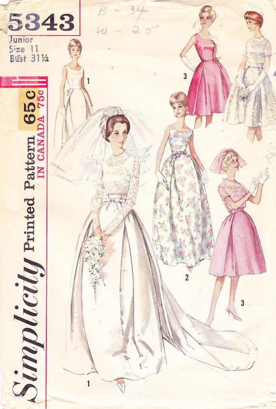 1963 Wedding Gown Vintage Pattern Simplicity 5343 Mad Men | Etsy