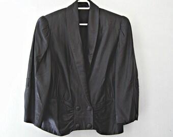 Black Leather Coat M L Vintage, Grunge Woman Coat Distress, Biker Waist Coat, Puffy Shoulders Rocker Jacket, Avant Garde Steampunk Fashion