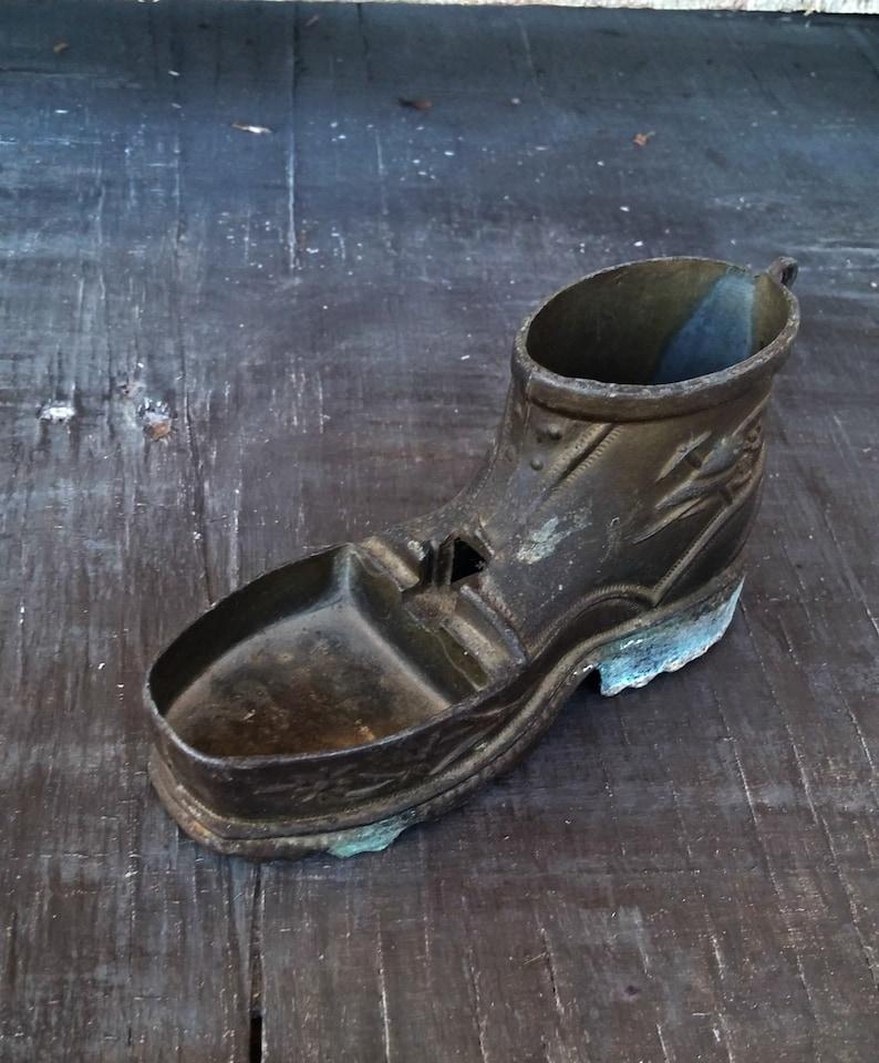 Succulent Plant Pot Rustic Patina Brass Bud Vase Man Cave Barware Decor From Italy Vintage Miniature Shoe Figurine Brass Shoe Ashtray