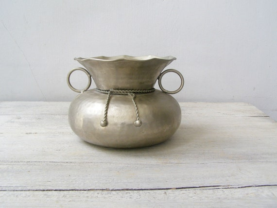 Silver Pewter Vase Vintage Metal Table Vase Big Sack Vase Etsy