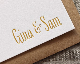 Gold Foil Personalized Couple's Stationery