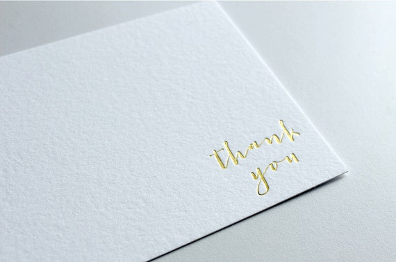 Gold Foil Thank You Cards Wedding Thank You Cards Etsy