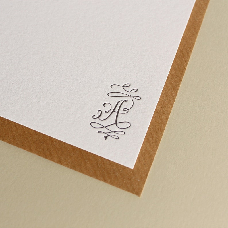 Custom Letterpress Monogram Stationery  Calligraphy Flourish image 1