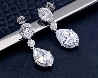 Bridal Earrings Wedding Earrings Wedding Jewelry Bridal Jewelry Crystal Earrings Bridesmaid Earrings Rhinestone Earrings Cubic Zirconia