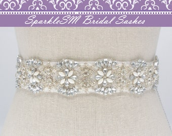 Bridal Sash, Wedding Sash, Bridal Belt, Crystal Sash, Rhinestone Sash, Jeweled Belt, Jeweled Sash, Wedding Gown Belt, Blue Bridal Sash