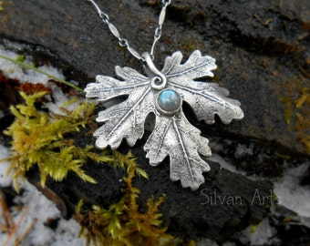Botanical Leaf Necklace With Labradorite - Elven- Made With a Real Leaf - Artisan Handcrafted with Recycled Silver - Woodland -Forest