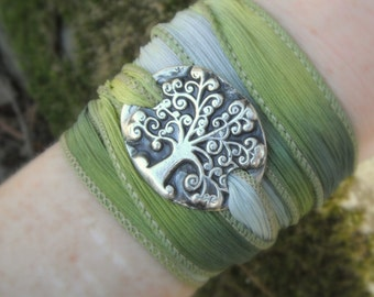 Tree of Life Bracelet, Elven Jewelry, Elven Forest, Silk Wrap Bracelet, Forest Jewelry, Artisan Handcrafted, Recycled Eco Silver
