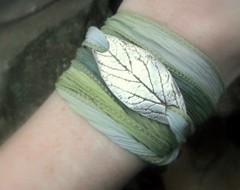 Woodland Leaf Bracelet, Wrap Bracelet Made From a Real Leaf, Silk Ribbon Wrap, Artisan Handcrafted Recycled Silver Botanical Jewelry
