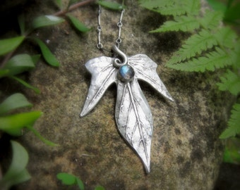 Elven Leaf Necklace With Labradorite - Made With a Real Leaf - Elfen - Artisan Handcrafted with Recycled Silver - Woodland - Forest -Elven