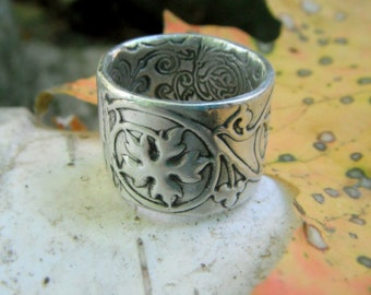 Leaf Ring, Renaissance Wedding Band, Medieval Ivy Vine, Artisan Handcrafted with Reclaimed Fine Silver, Silvan Arts