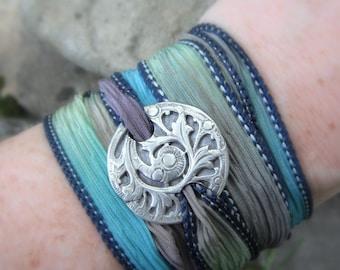 Antique Fern- Silk Ribbon Wrap Bracelet- Artisan Handcrafted- Recycled Fine Silver