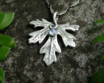 Silver Leaf Necklace With Moonstone, Botanical Jewelry, Real Leaf, Artisan Handcrafted Recycled Silver, Elven Leaf, Forest, Woodland