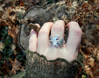 Oak Leaf Ring, Woodland Leaf Ring, Real Leaf Ring, Elven Leaf Ring, Silvan, Artisan Handcrafted Recycled Fine Silver, Botanical Ring