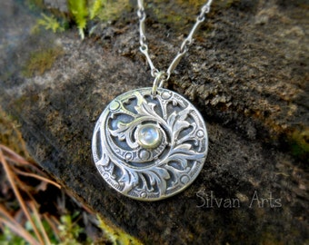 Antique Fern Necklace, Artisan Handcrafted, Recycled Fine Silver, Woodland, Fairy, Botanical, Forest, Art Nouveau,  Elven,  Silvan Arts