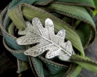 Woodland Oak Leaf Bracelet, Wrap Bracelet, Real Leaf Jewelry, Silk Ribbon Wrap, Silvan Leaf, Artisan Handcrafted Recycled Silver
