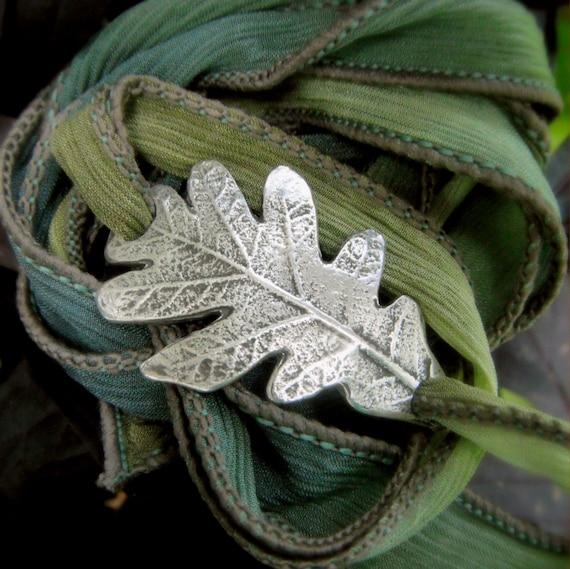 Oak Leaf Bracelet Wrap Bracelet Real Leaf Jewelry Silk  Etsy-8109