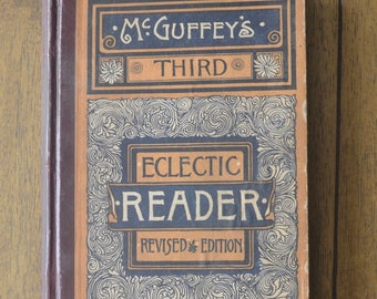 Antique English Reading Textbook, McGuffey's Third Eclectic Reader, Revised Edition, 1879
