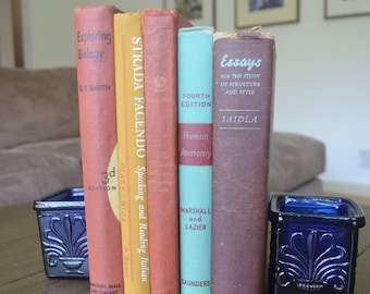 A Collection of Five Vintage Multicolor Textbooks, English, Anatomy, Biology and More, Midcentury, 1939-1966