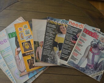 Eight Sewing Magazines from the 1970s - Needle and Craft magazines and Needlecraft magazine: Art Projects, Scrapbooking