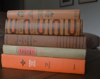 5 Vintage Burnt Orange and Brown Books, Décor, Mid-century, Poetry, Novels, Texts, Decor (1936-1953)