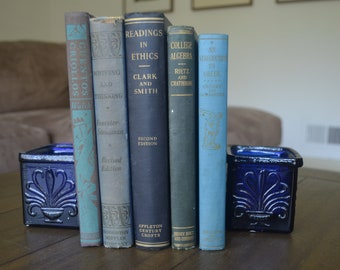 A Collection of Five Vintage Textbooks, Black and Blue, Algebra, Greek, Philosophy, and More, 1927-1960