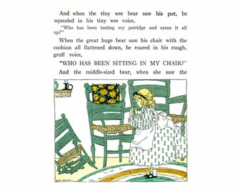 Digital Download -- Who has been sitting in my chair ? --  Illustration of Goldilocks from the MY BOOKHOUSE series