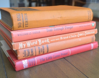 Five Red and Orange Vintage Books, Children's Theme (Little Lame Prince, Reader, Biography, Novels),  1924-1965
