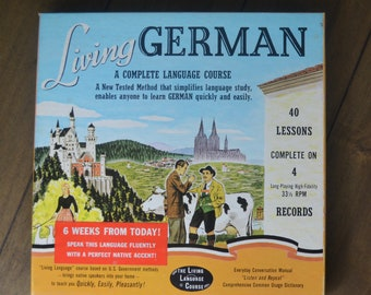 Vintage Manuals and Records for Learning German Language: Living German, A Complete Language Course, 1956