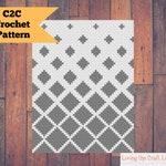 Fading Diamonds C2C Blanket - Corner to Corner - Written Crochet Pattern and Graph - Instant Download