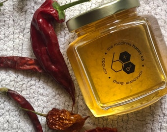 SPICY HOT PEPPER Infused Fresh Unpasteurized Honey.