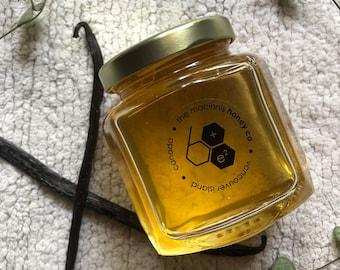 VANILLA BEAN Infused Fresh Unpasteurized Honey.