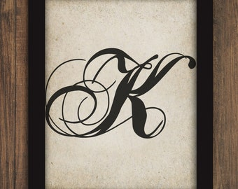 monogram fancy calligraphy letter or initial k text typography printable digital wall art instant download diy print and frame art 2089 k