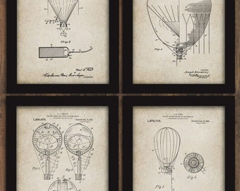 Hot Air Balloon PATENT Prints SET of 4 Airship Printable Digital Wall Art iNSTANT DOWNLOAD DiY Print and Frame Wall Decor Dirigible #5149