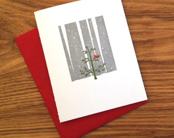 Letterpress Holiday Card - Little Red Bird in Tree