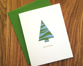 Letterpress Holiday Card - Green & Blue Tree