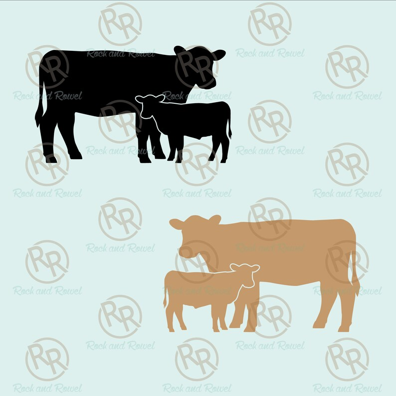 Add your brand Pick your colors! Custom Cow and Calf Pair Silhouette with Brand Vinyl Decals Livestock Branded Cattle