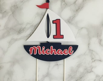 Nautical Boat Cake Topper Red White Blue Personalized Sailboat