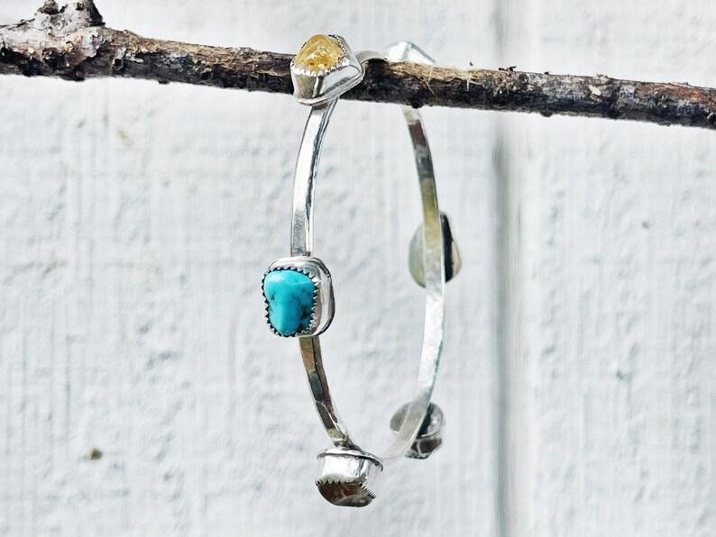 Turquoise Nugget Citrine Nugget Stevie Tambourine Bangle Bracelet